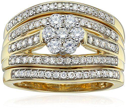 Amazon Collection Igi Certified 14k Yellow Gold Diamond Cluster