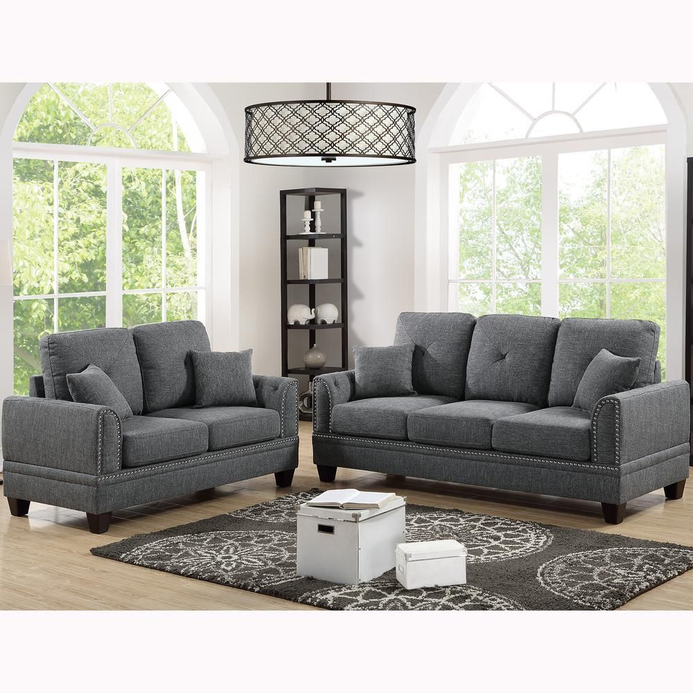 Venetian Worldwide Majella 2 Piece Ash Black Sofa Set