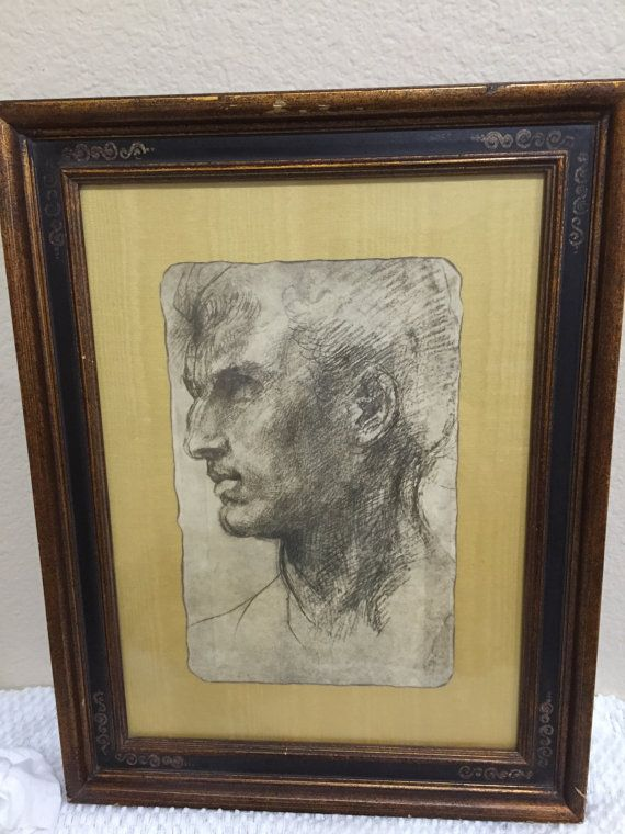Study of a Male Head (charcoal on paper) by Andrea Del Sarto  In nice rustic brown/gold frame with some dings, dents, and scraps, therefore