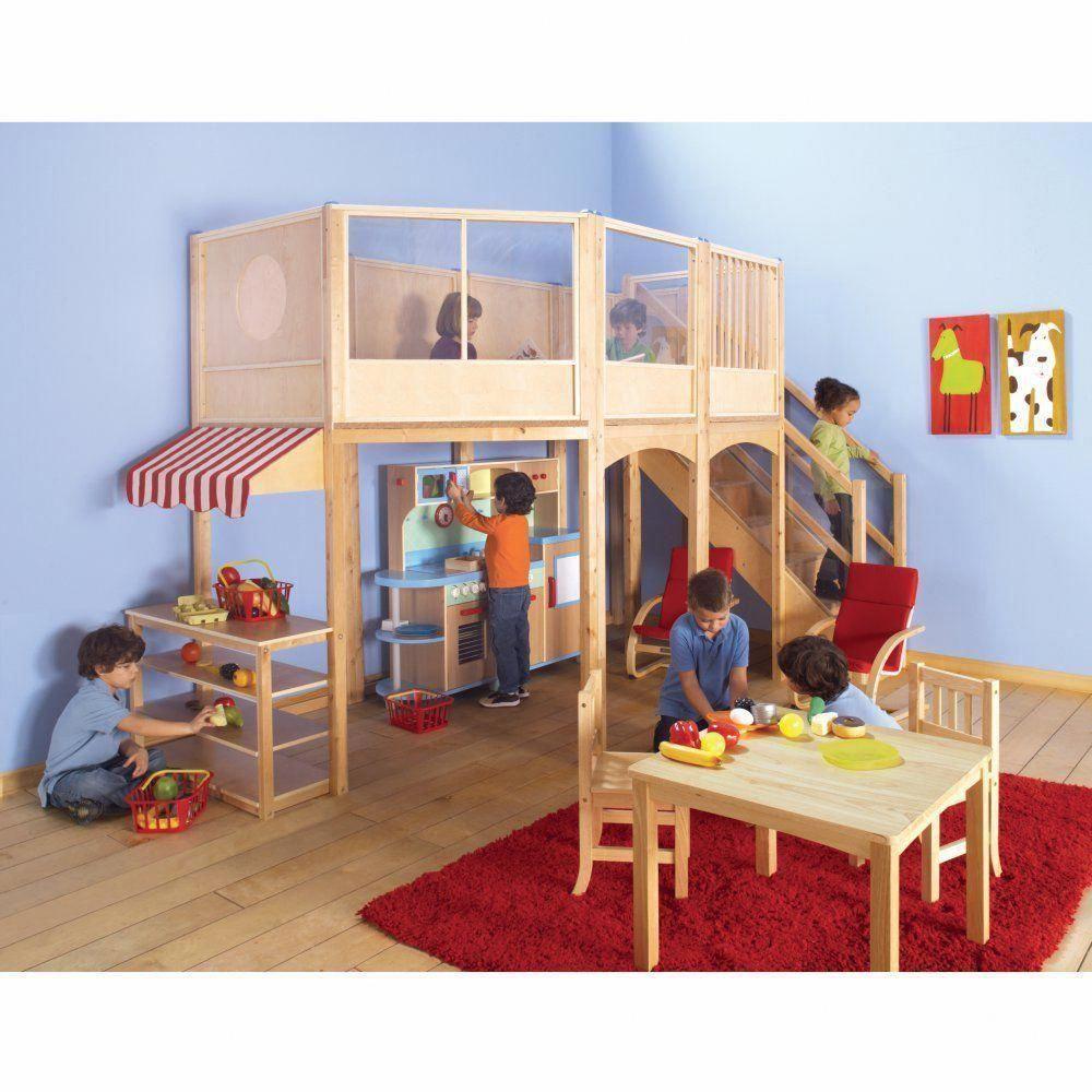 Loft bed organization ideas  Guidecraft Market Loft Extension Kit  Indoor Playhouses at