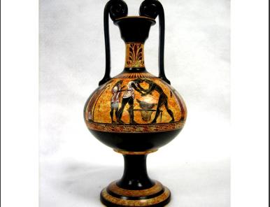 Greek Pottery :: Black figured pottery :: Black figured Wine Psykter