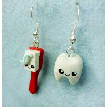 Fimo Kawaii Zahnbürste und Zahn