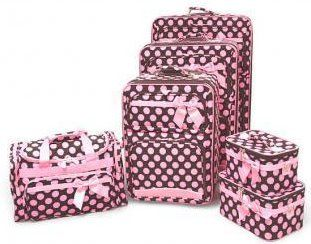 Brown And Pink 6 Piece Polka Dot Luggage Set | Tiffany | Pinterest ...