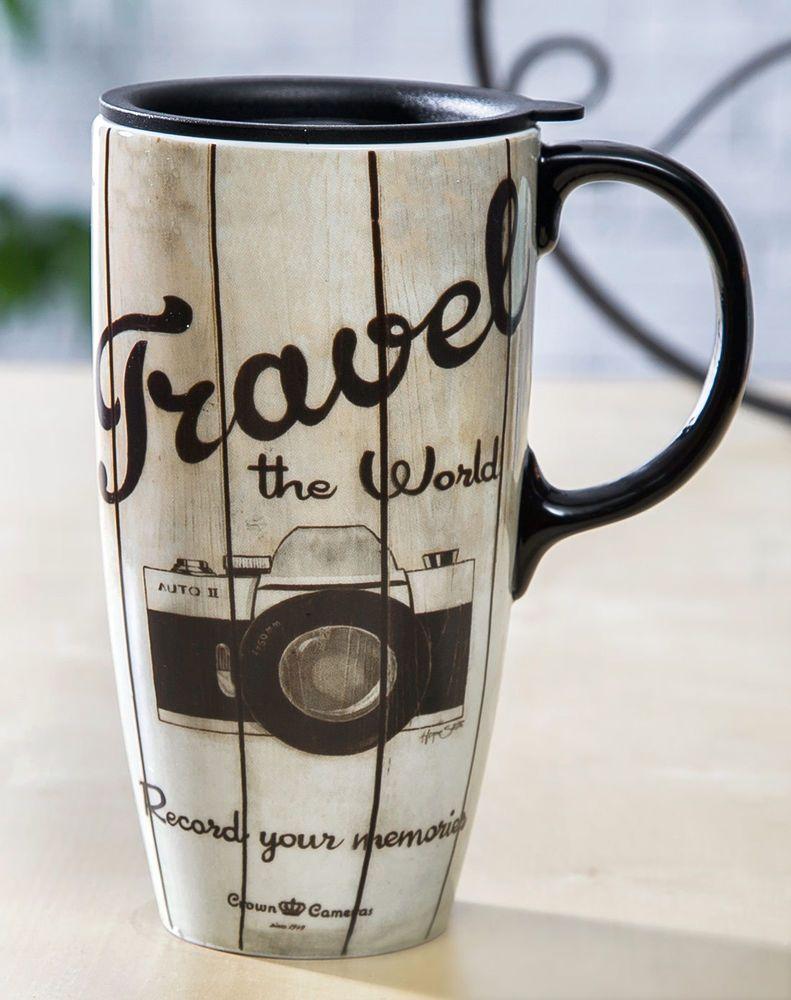 Cypress Home Tall Ceramic Travel Mug 17 Oz Sealed Lid Cypresshome Mugs Tall Coffee Mugs Coffee Mugs