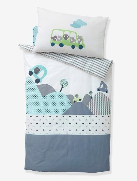 housse de couette b b en voiture ecru bleu. Black Bedroom Furniture Sets. Home Design Ideas