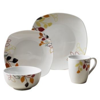 Tabletops Gallery Brooke Soft 16 Pc. Square Dinnerware Set