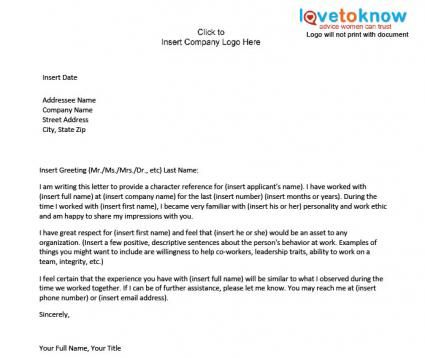 Examples Of A Character Reference Letter Character