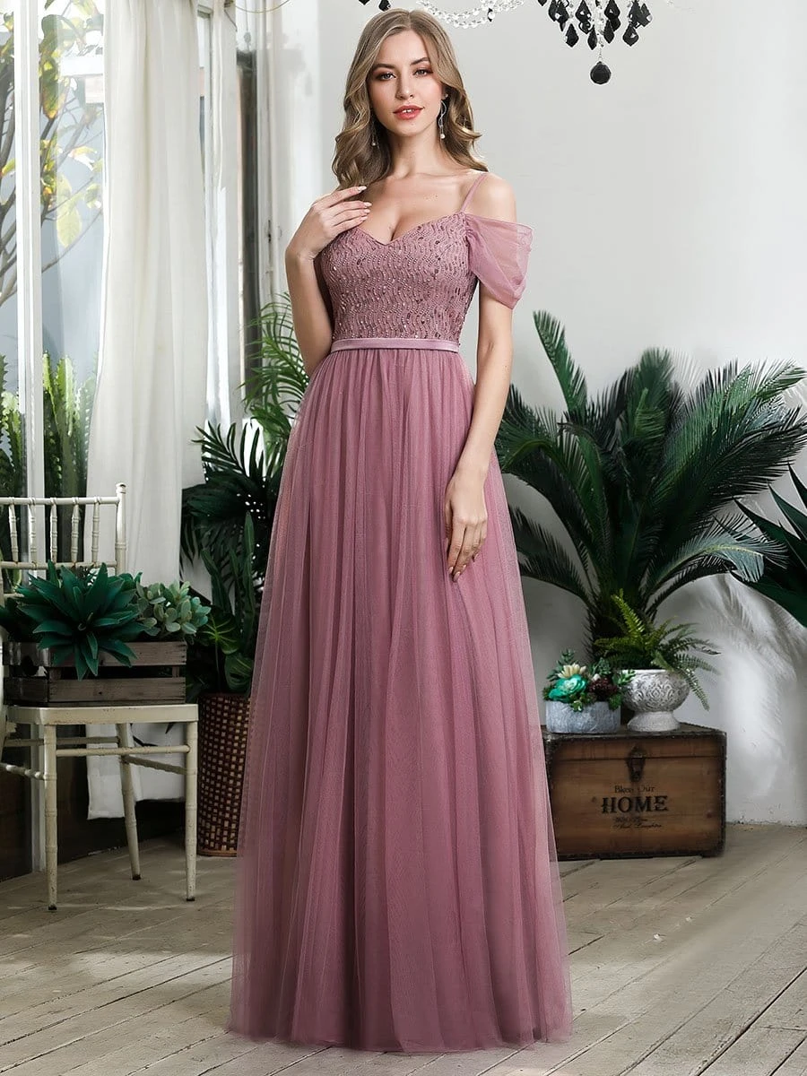 Cold Shoulder Sequin Bodice Long Tulle Bridesmaid Dress ...