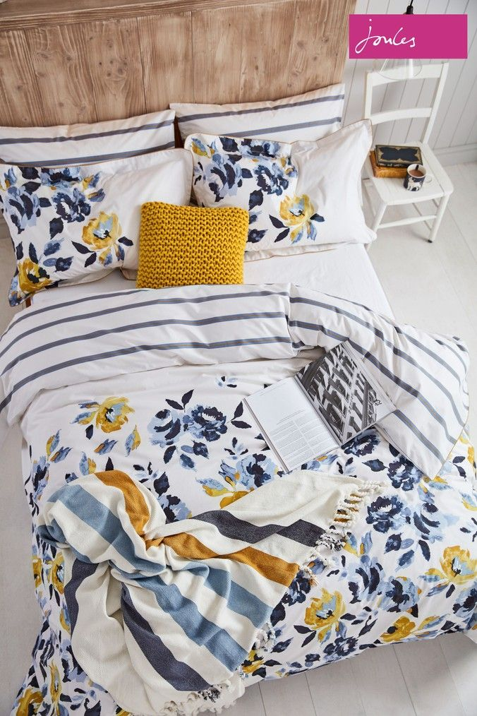 Joules Galley Floral Cotton Duvet Cover White Floral Duvet Cover Duvet Covers Yellow Yellow Duvet