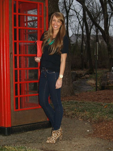 A simple look with a colorful necklace and leopard booties! #samedelman #stelladot #jssouthernchic #leopard
