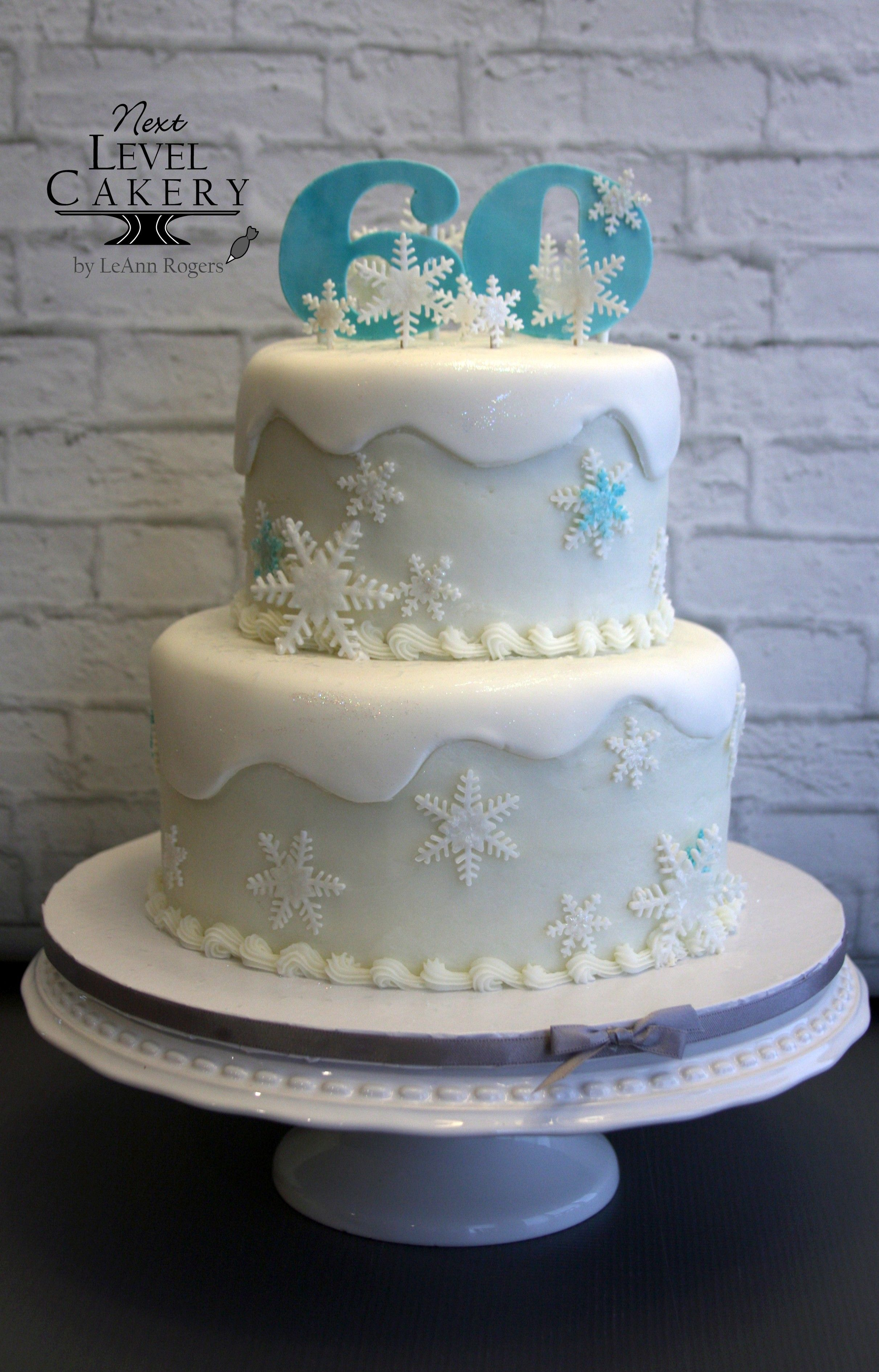 Awesome 60Th Birthday Cake Snowflakes Snow Cake Teal And White Cake Birthday Cards Printable Nowaargucafe Filternl
