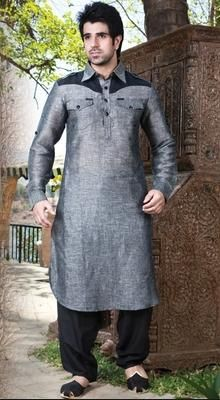 Grey And Black Embellished Sherwani Suit
