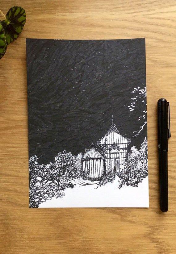 Secret greenhouse garden -  Inktober art - Spell original ink drawing - lush overgrown plants—magi #overgrownaesthetic