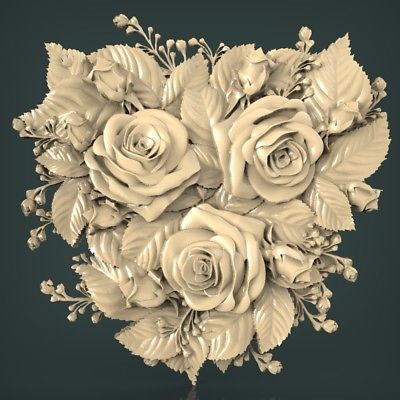 3D STL Models for CNC Router Engraver Carving Artcam Aspire Heart Rose 251