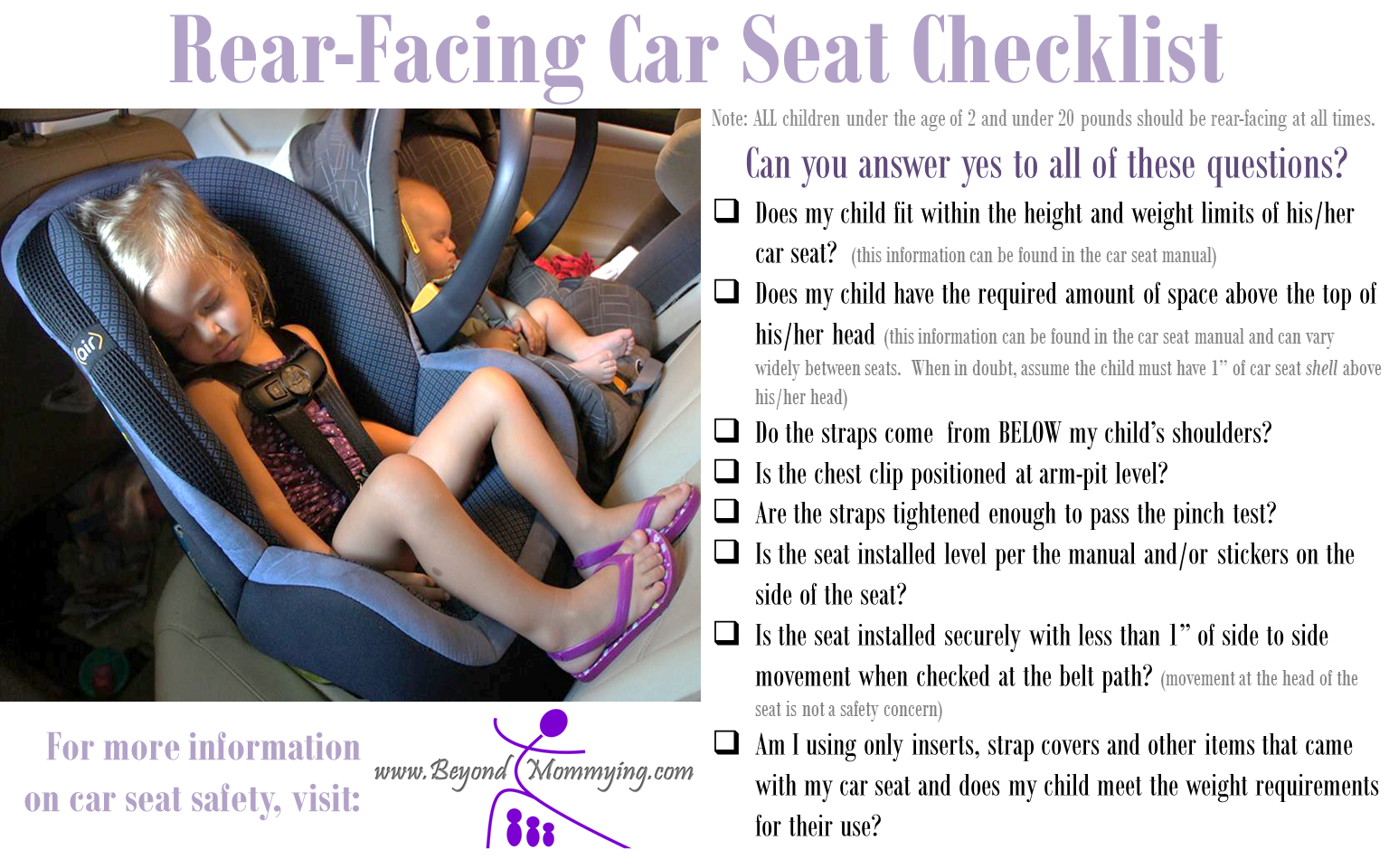 Car Seat Safety Checklists for Proper Car Seat Use Rear
