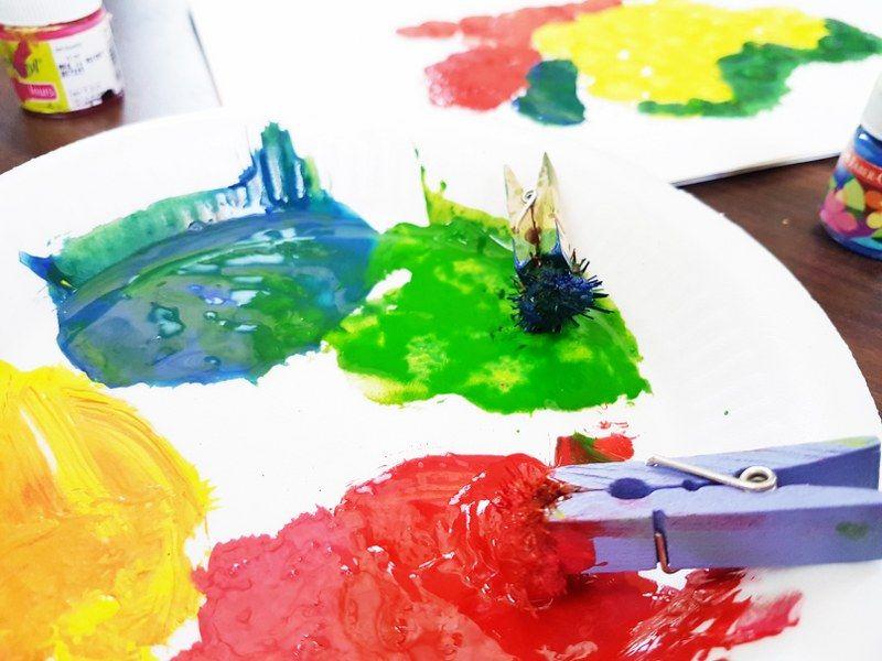 DIY Pom Pom And WaterColour Art For Kids #kids #colour #colourful #art #toddler #toddlerart #momlife #mom #children #child #finemotorskills #artwork #sensory #sensoryactivities