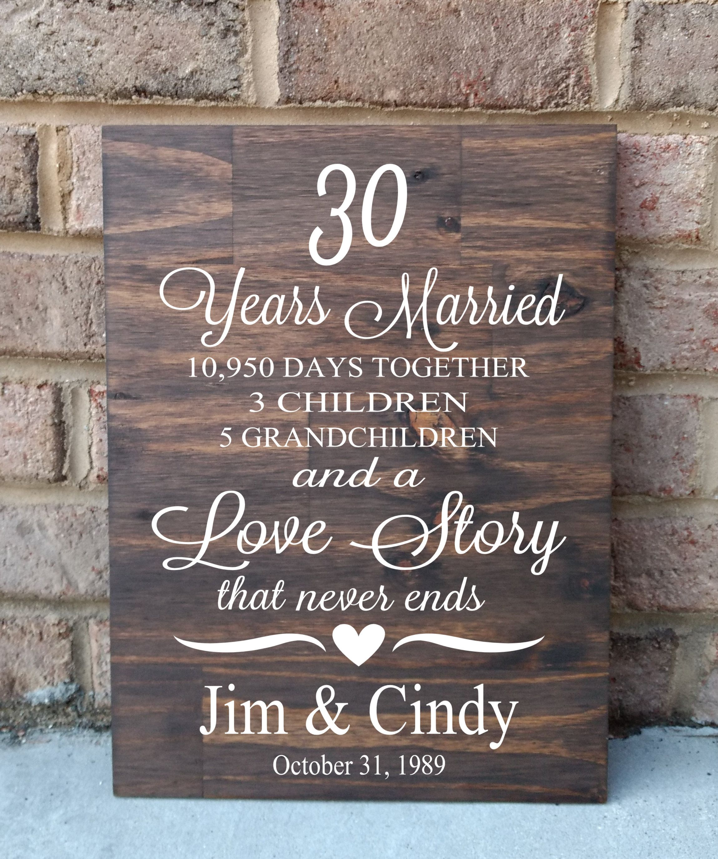 30 Years of Marriage Hand Painted Wood Sign, 30th