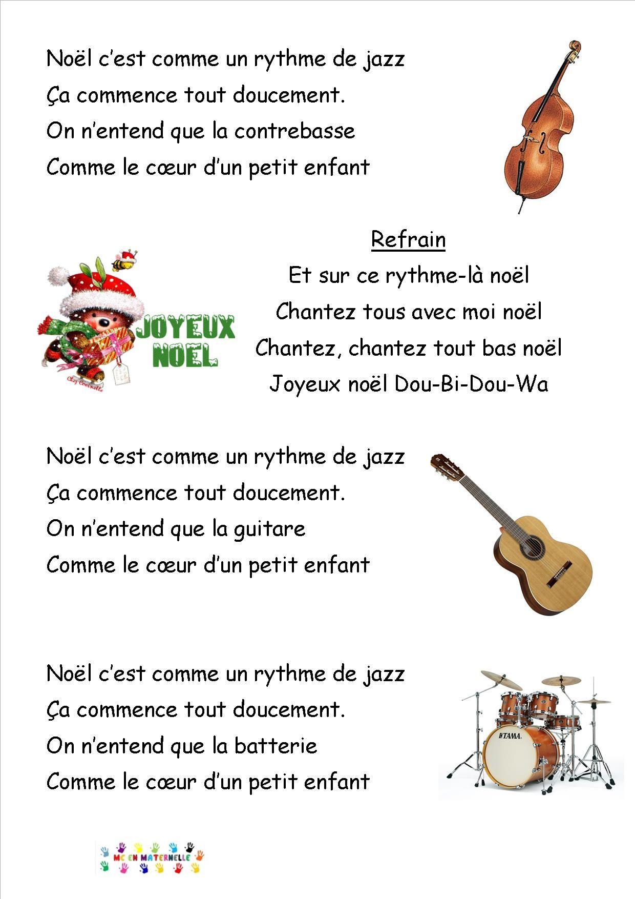 Noël C'est Comme Un Rythme De Jazz Paroles : noël, c'est, comme, rythme, paroles, Noël, Jazz,, Chanson, Noel,, Maternelle