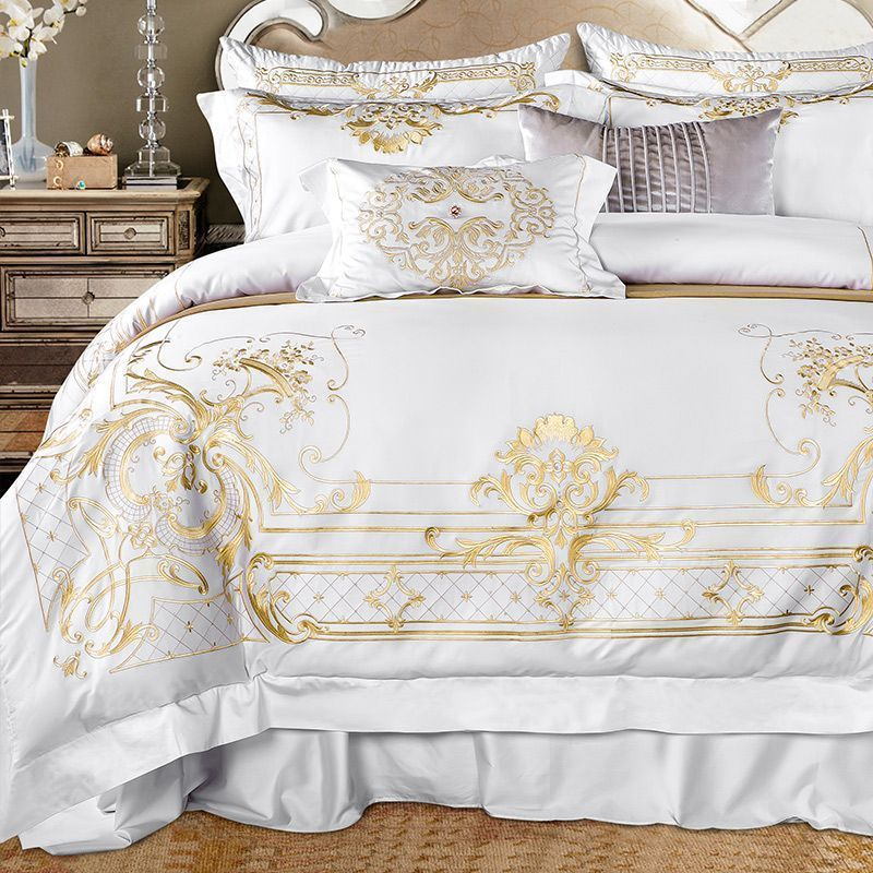 Egyptian Cotton Embroidered White Color Luxury Royal Bedding Set 4/7Pcs King  Queen Size Bed Sheet Set Duvet Cover Pillow Shams #DesignerBedSheets # ...