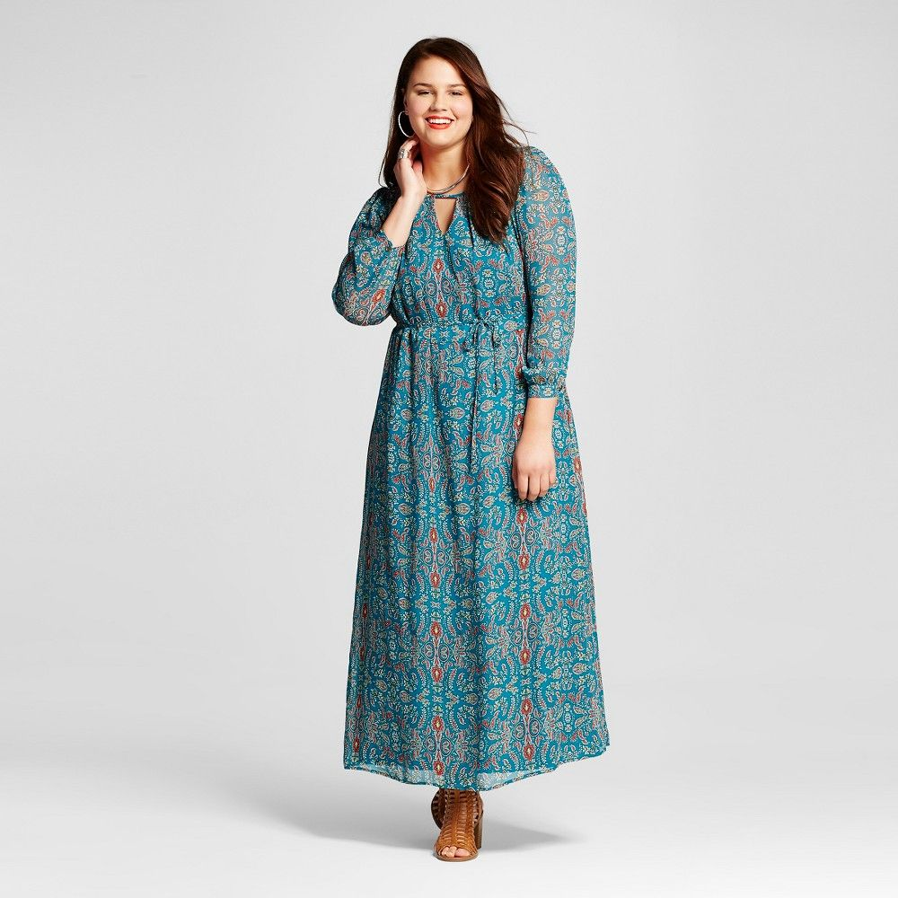 Womenus plus size long sleeve printed maxi dress teal x lots of