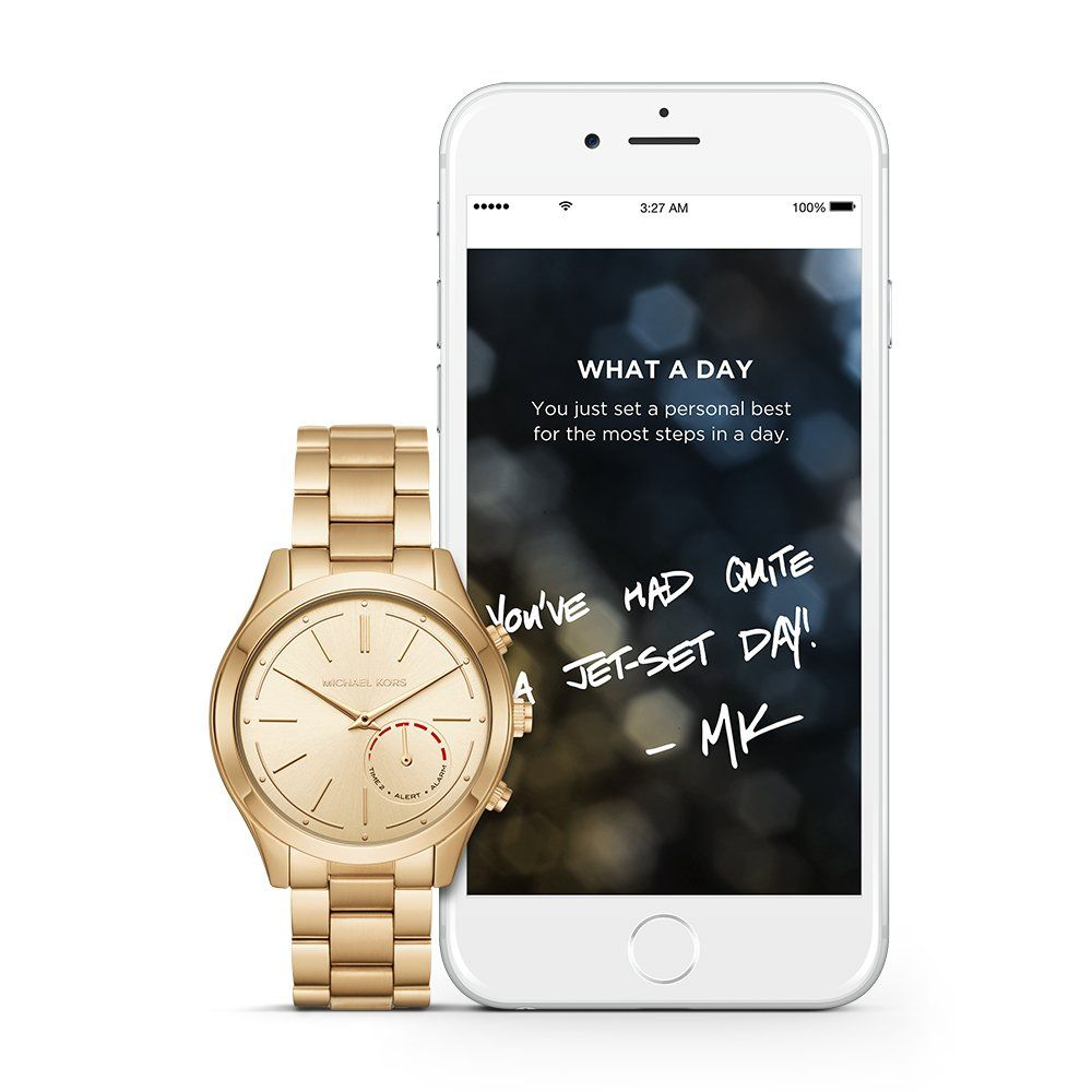 2735b6e8ff80 Michael Kors Access Hybrid Gold Slim Runway Smartwatch MKT4002. Smartwatch  that tracks activities and provides
