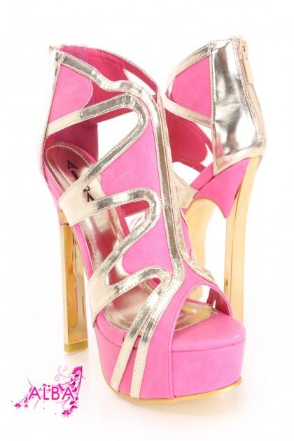 Fuchsia Open Toe Platform High Heels Faux Leather