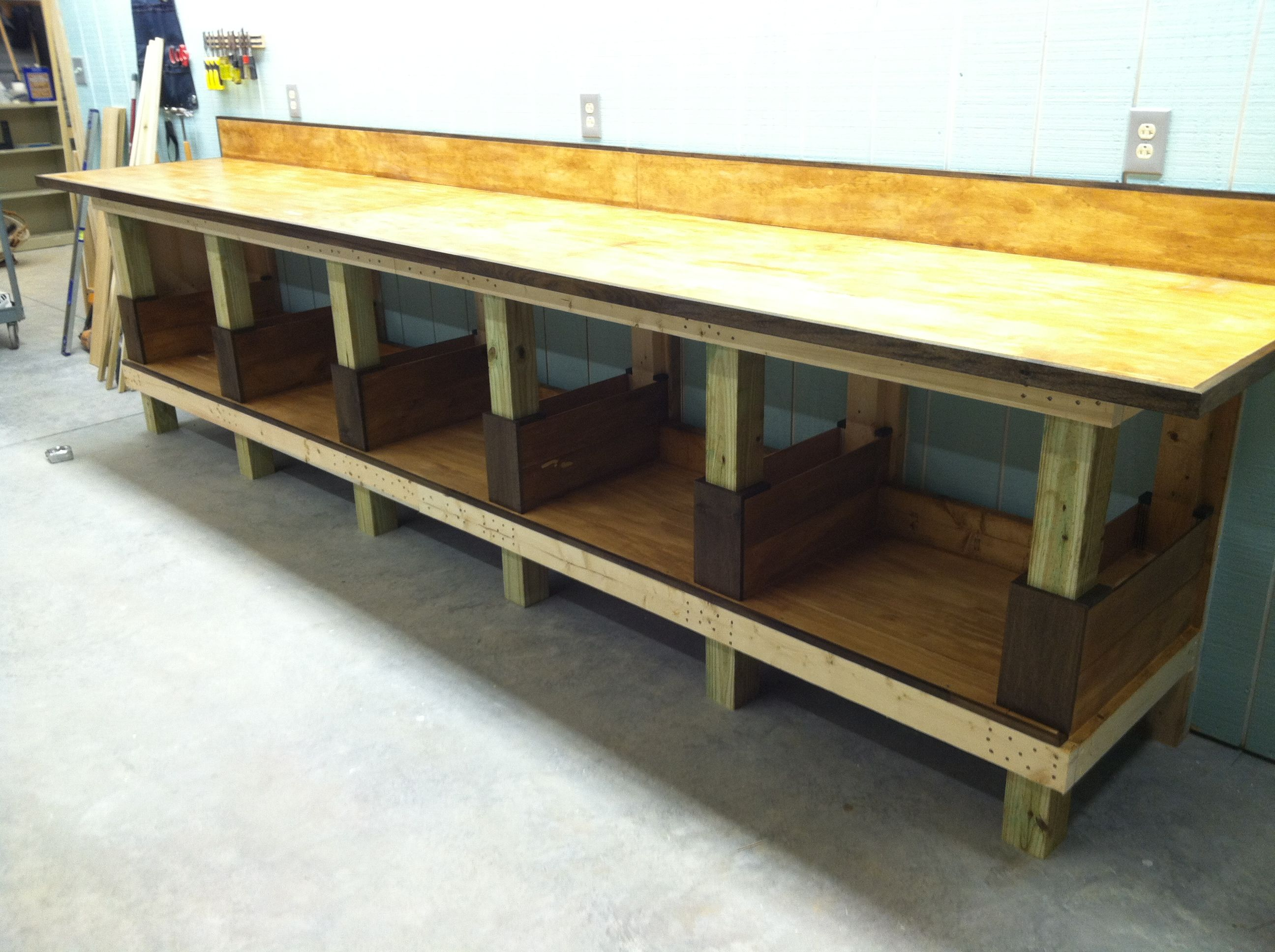 Shop Work Bench With Top And Back Splash Attached Top Is 14ft X Doubled 1 5 Inch 3 4