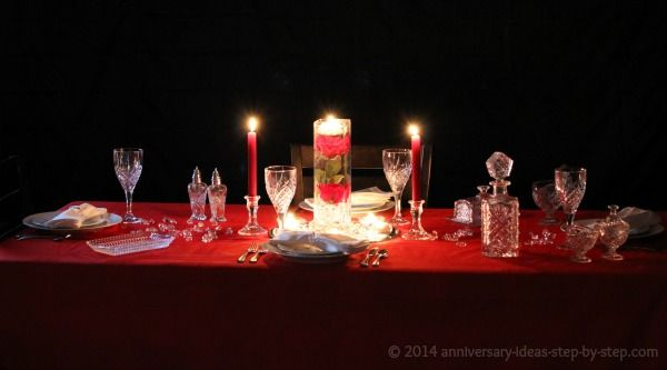 Th anniversary crystal table setting idea vow renewals