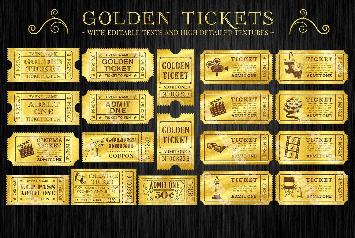 Golden Ticket Invitation Template Free Luxury Golden Tickets