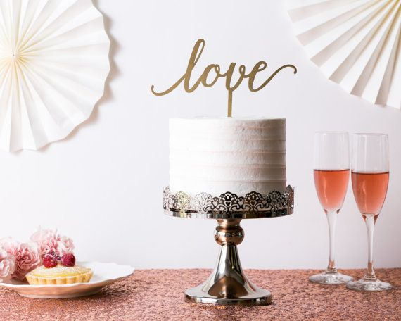 wedding cake topper love gold wood by PeppermintDawn on Etsy