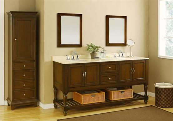 Bathroom Vanities, Long And Twin Sink With Craftsman Style Bathroom