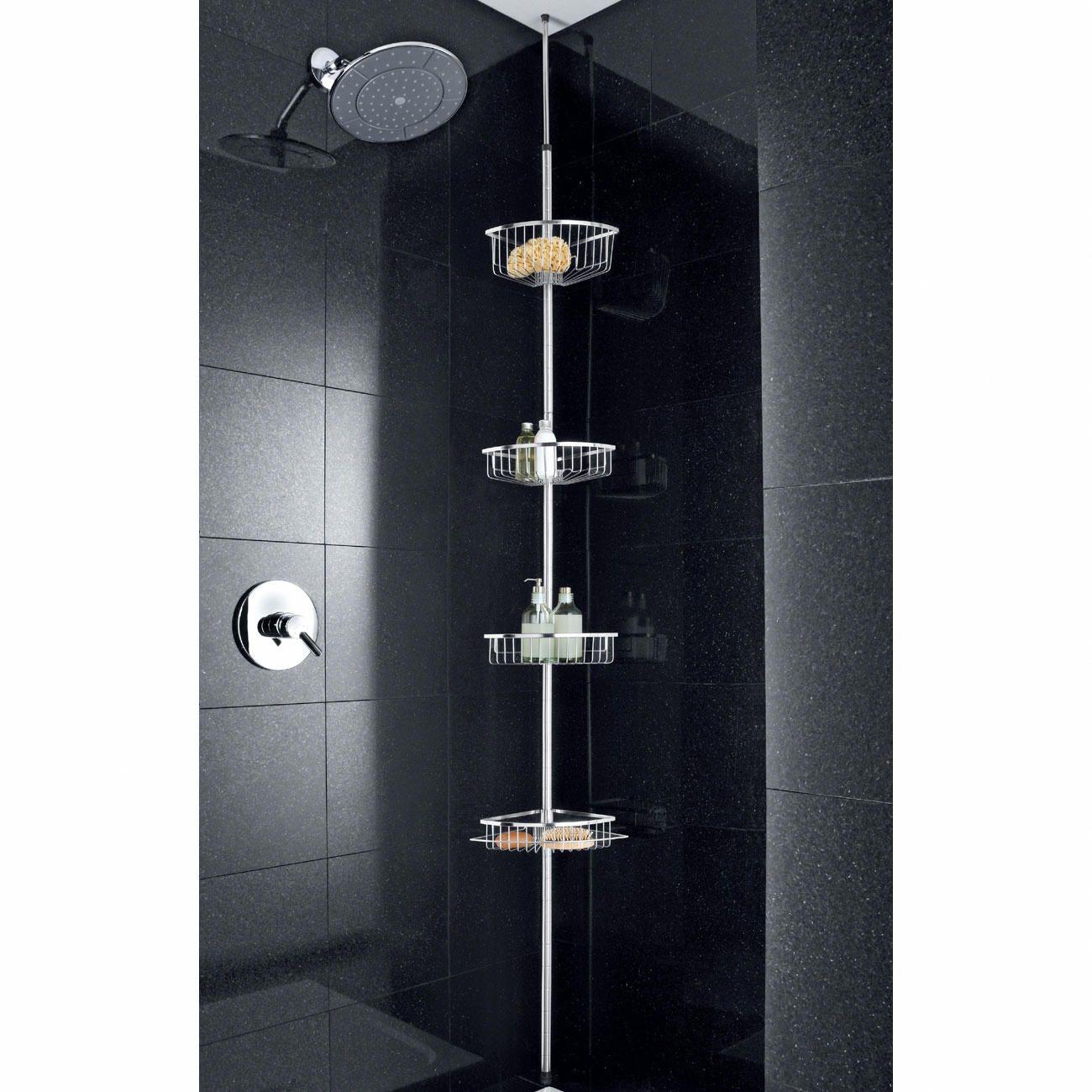 simple tagre de douche rglable sinstalle sans perage ni ventouses hauteur rglable entre et cm en. Black Bedroom Furniture Sets. Home Design Ideas