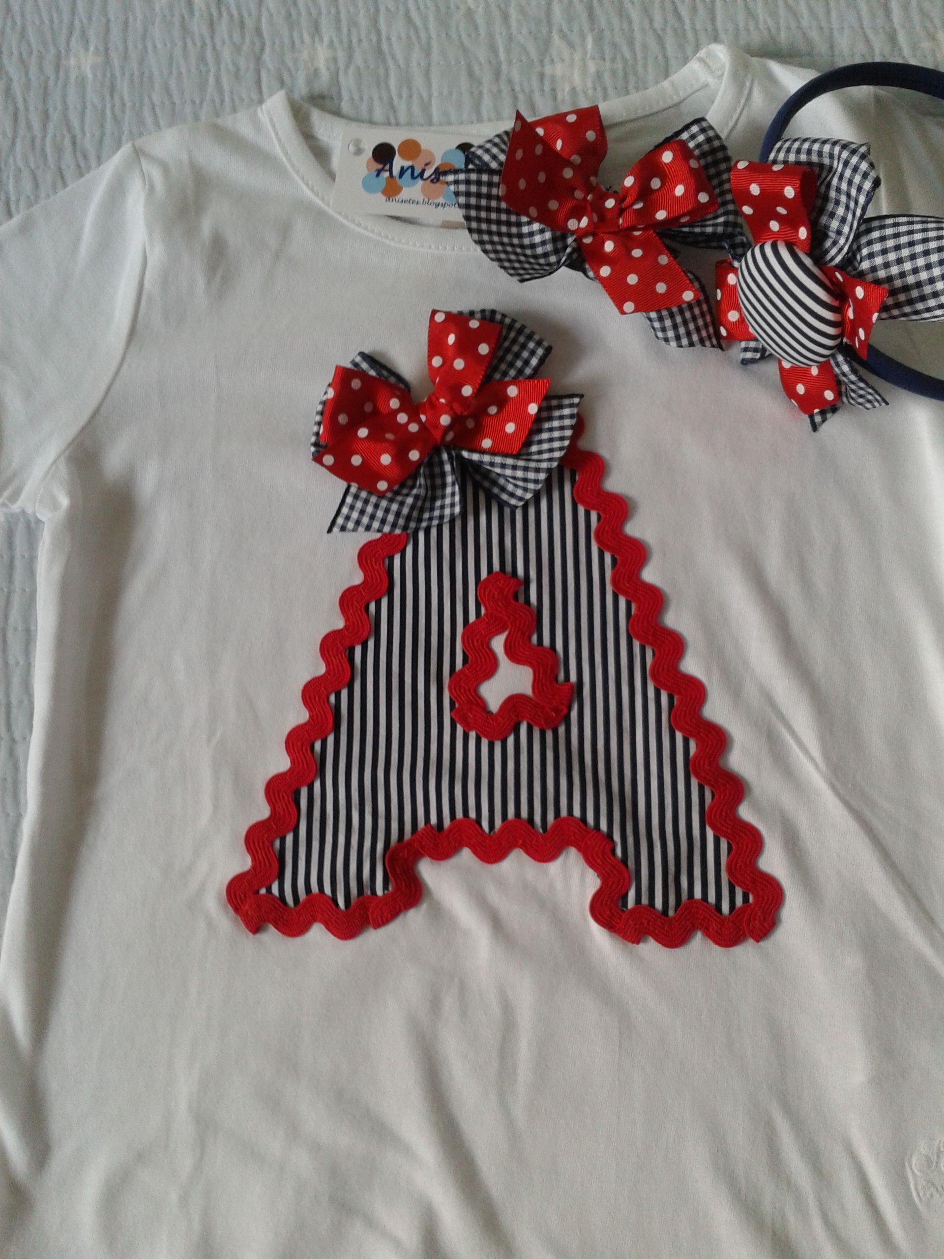 Camiseta Con Inicial En Marino Y Rojo Otros Pinterest  ~ Ideas Para Decorar Camisetas Infantiles