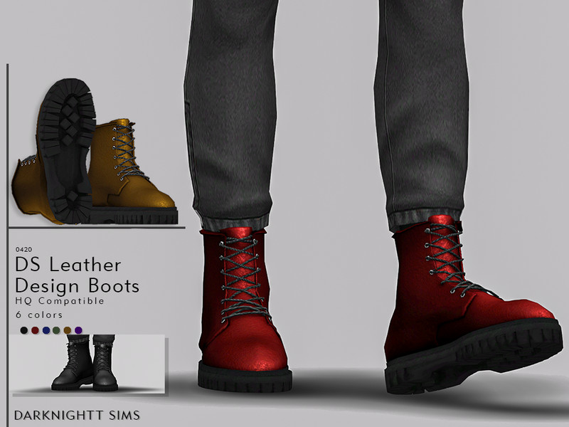 Ds Leather Design Boots Found In Tsr Category Sims 4 Shoes Male Sims 4 Men Clothing Sims 4 Male Clothes Sims 4 Cc Shoes