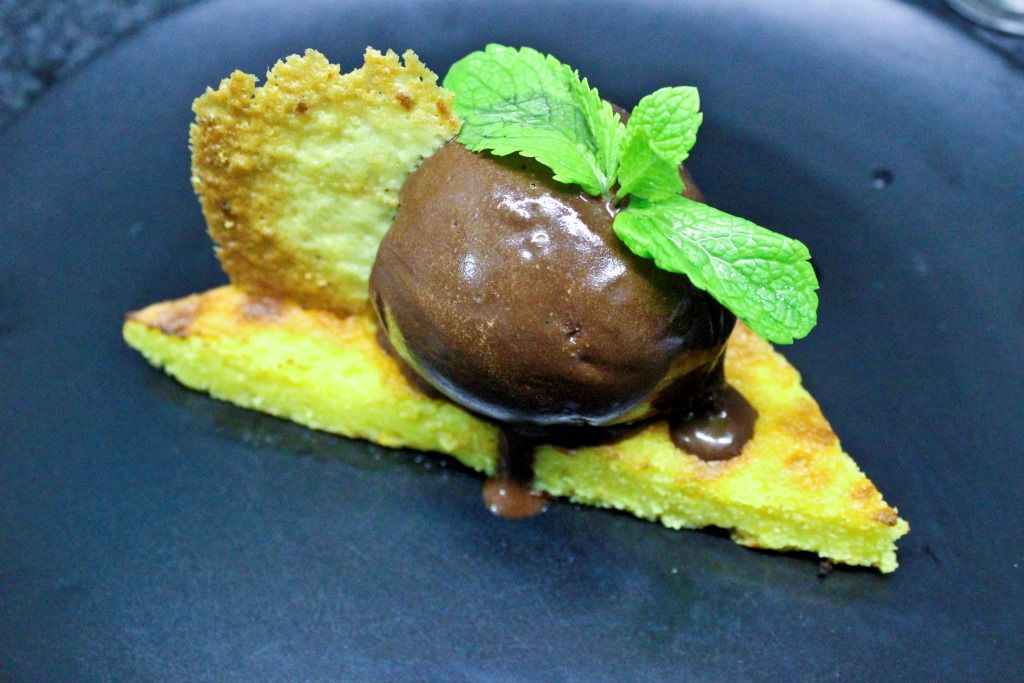 Orange and polenta tarte, chocolate sorbet