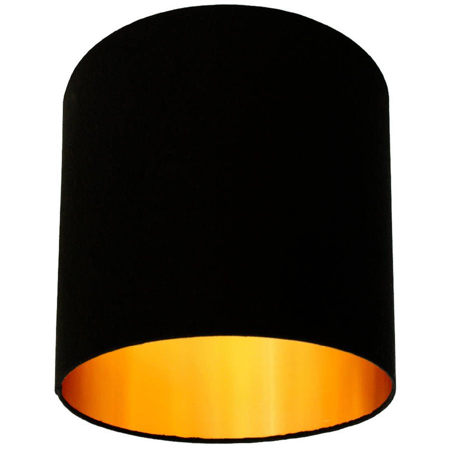 Jet Black Cotton Lampshade With Gold Lining