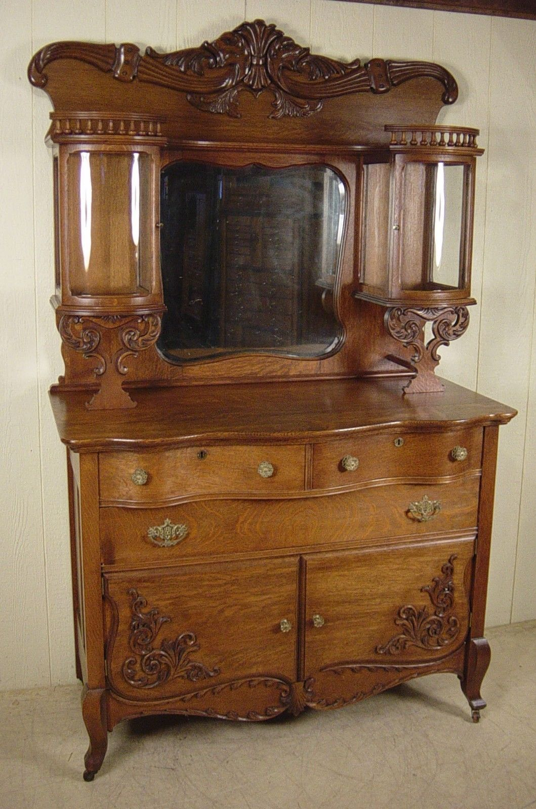 Sideboard Vitrine Antique Oak Sideboard With Double Curio Cabinet Top Antiques