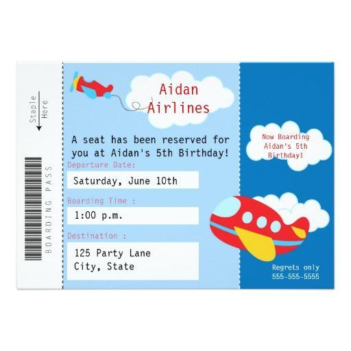 Airplane Ticket Birthday Invitation Airplane Birthday Party - airplane ticket invitations