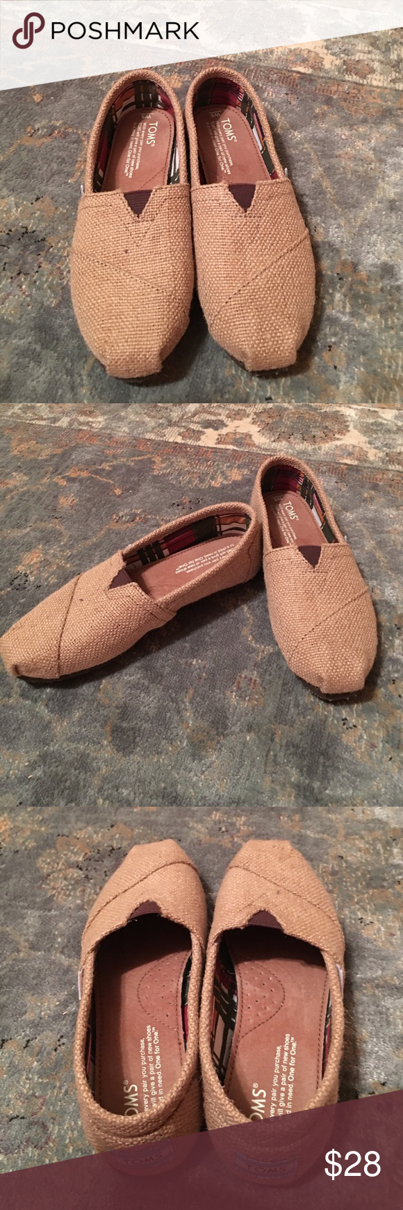 Size 5 Toms worn once. Burlap Toms practically brand new. Size 5 TOMS Shoes Sneakers