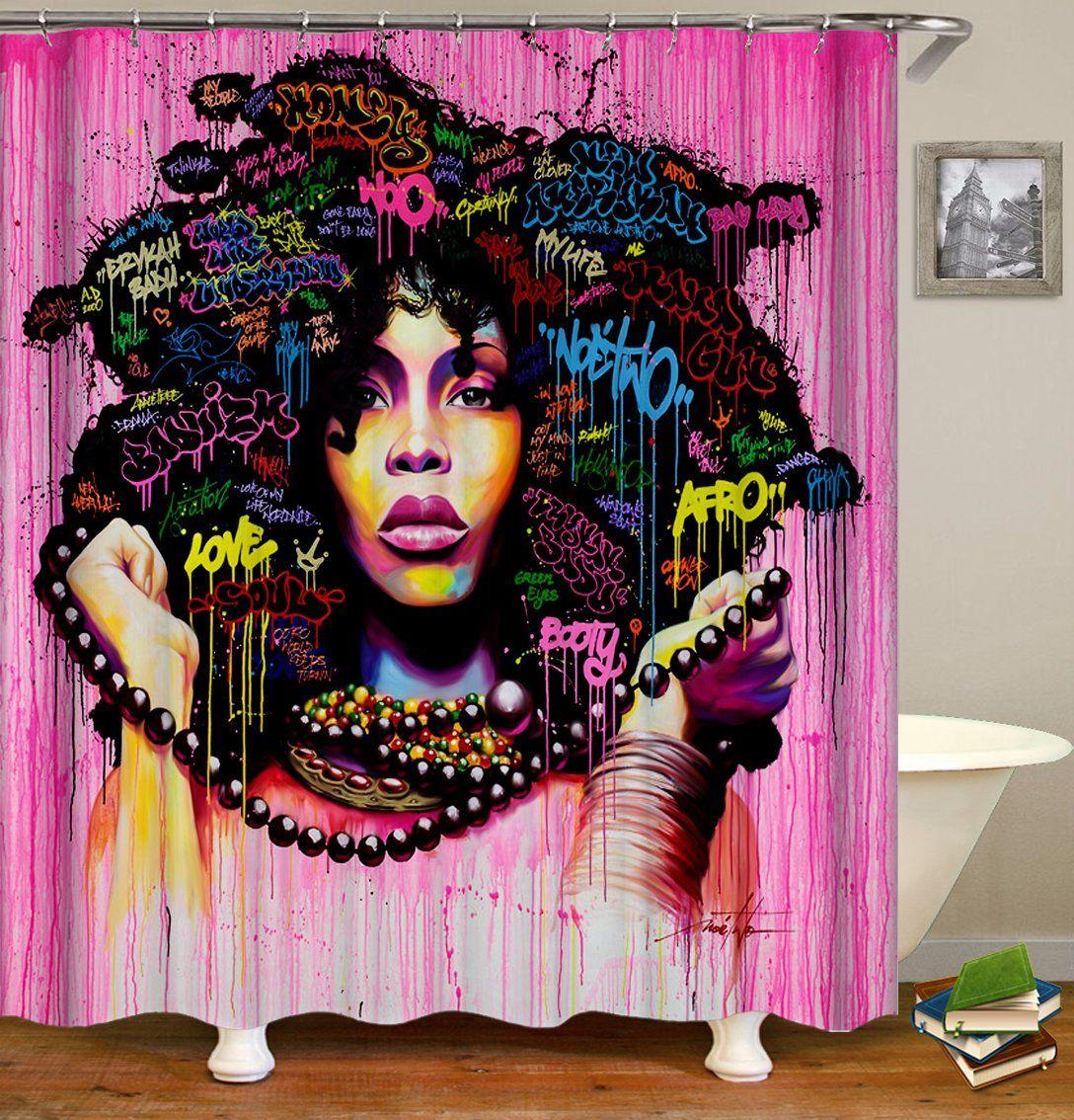 Baduizm Fine Black Women Hairstyle Shower Curtain Bathroom Decor