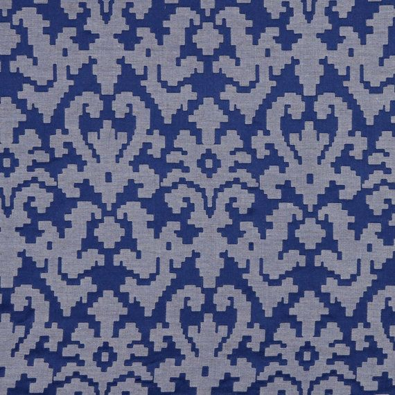 Modern Cobalt Blue Upholstery Fabric Modern Blue Damask Fabric For