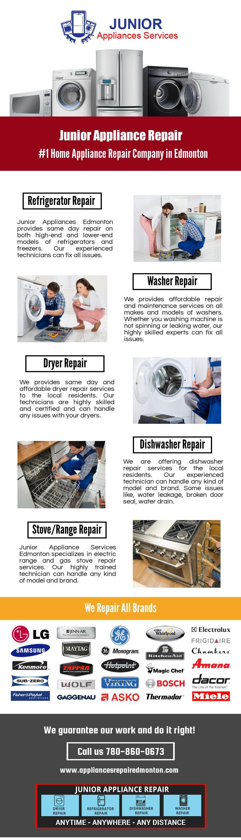 Junior Appliance Repair Services In Edmonton Appliance Repair Appliance Repair Service Washer Repair