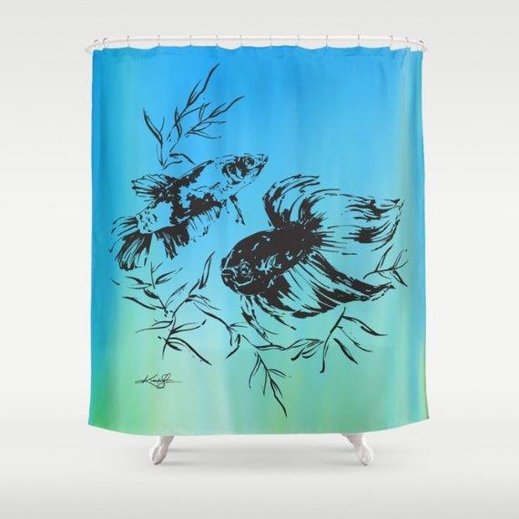 Tropical Fish Shower Curtain Art Blue Teal From Original
