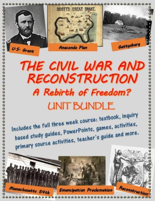The Civil War and Reconstruction unit bundle, including ...