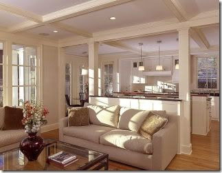 Coffered ceiling boxed in support beams basement ideas - Kitchen and living room divider ...