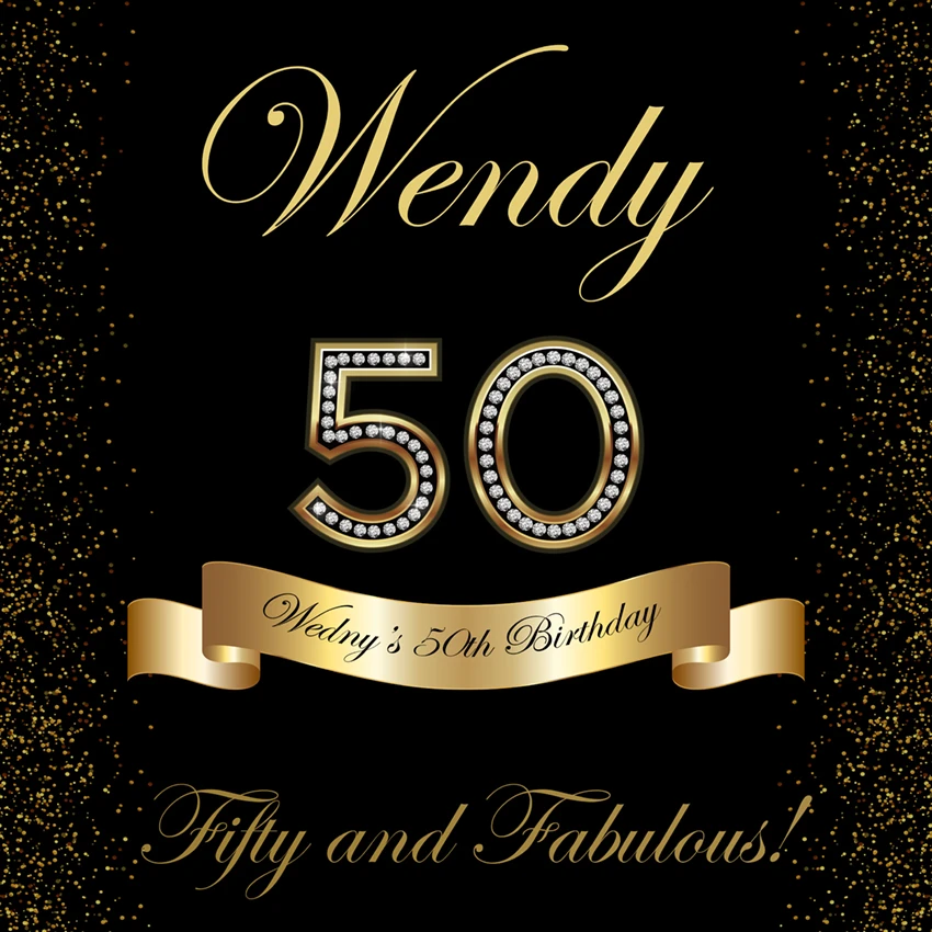 Custom 50th Birthday Party Gold And Black Photography Backdrop D531 2 In 2020 50th Birthday Party Photography Backdrop Custom Backdrop