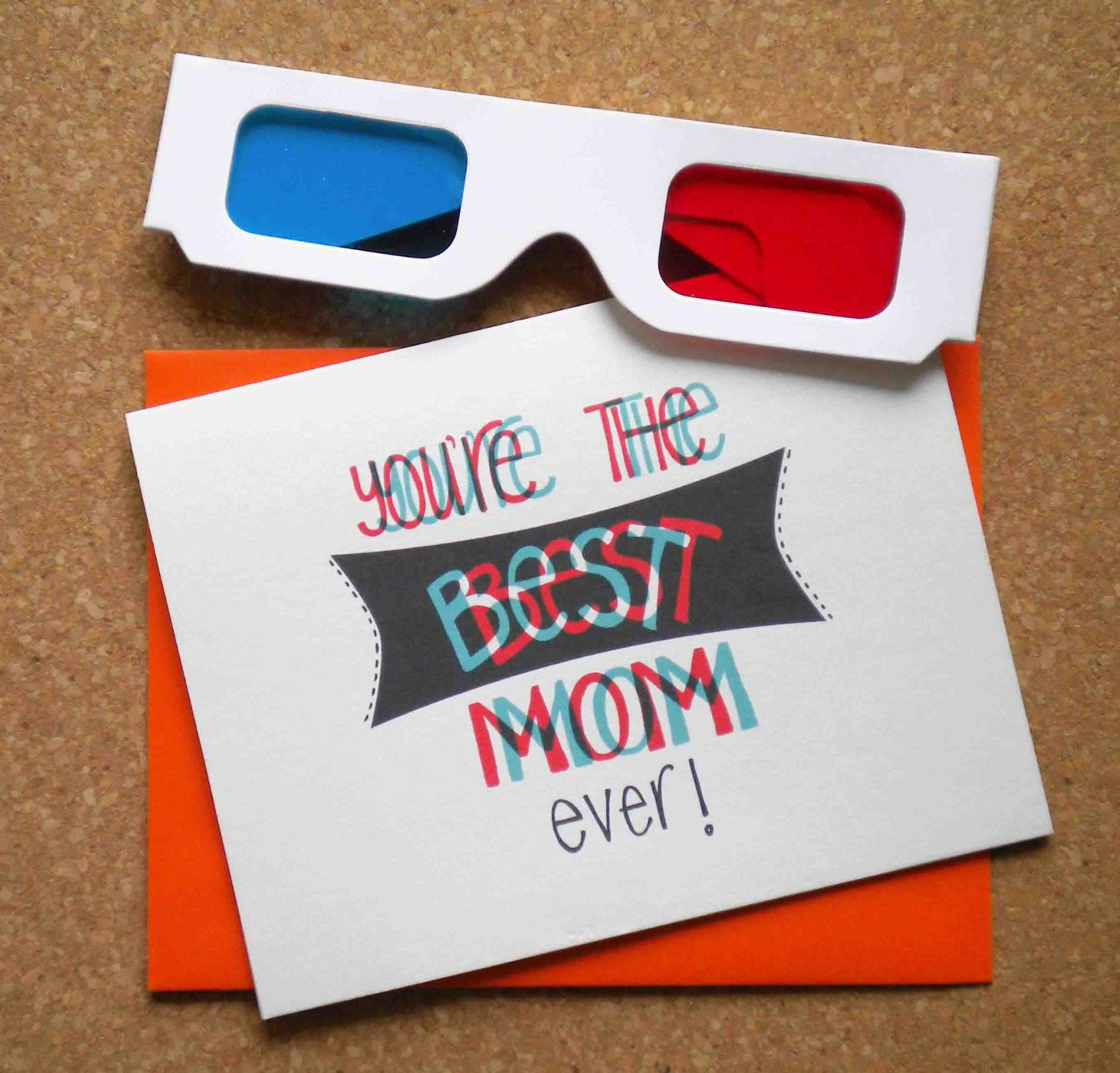 "Best mom"" mothers day card with 3d glasses could turn this"