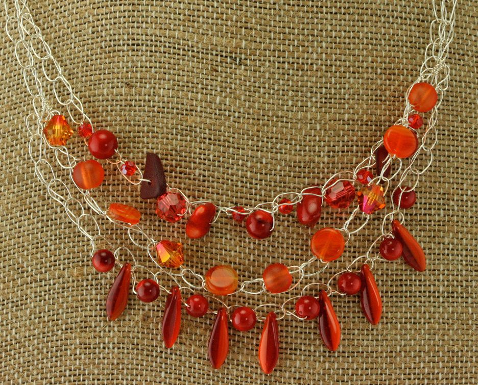 40% Off, Was $86.50 - Red Spike Crochet Wire Necklace & Earring Set w/ Gen. Sea #Handmade #Beaded