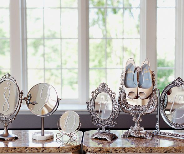 Unique Table Numbers For Wedding Reception Ideas: Vintage Mirrors And Thrift Store Finds Are Stunning Ways