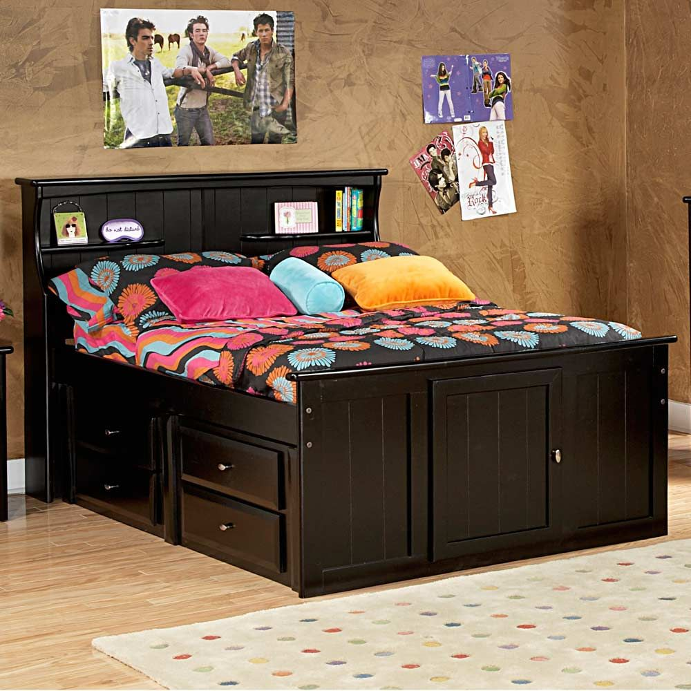 Full Storage Bed Bookcase Headboard Black Cherry Bed With